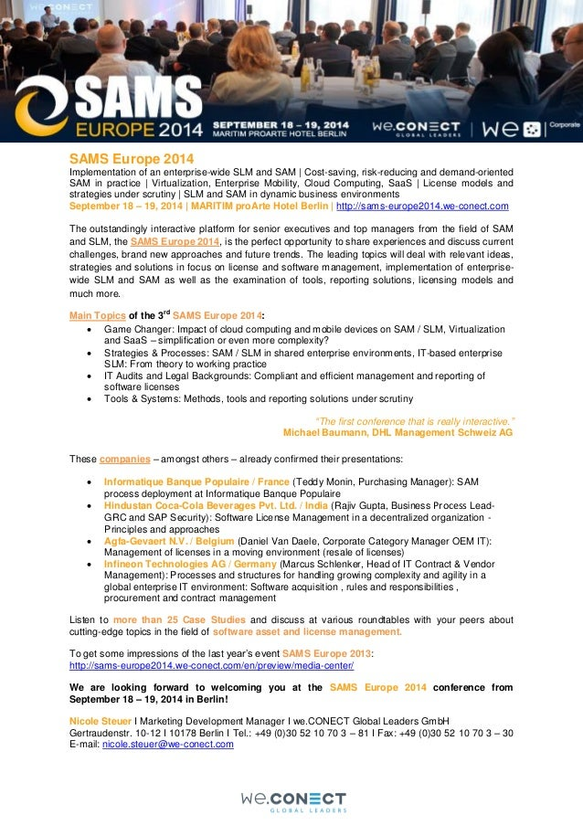 SAMS Europe 2014 Implementation of an enterprise-wide SLM and SAM | Cost-saving, risk-reducing and demand-oriented SAM in ...