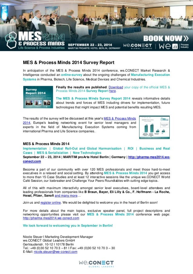 MES & Process Minds 2014 Survey Report  In anticipation of the MES & Process Minds 2014 conference, we.CONECT Market Resea...