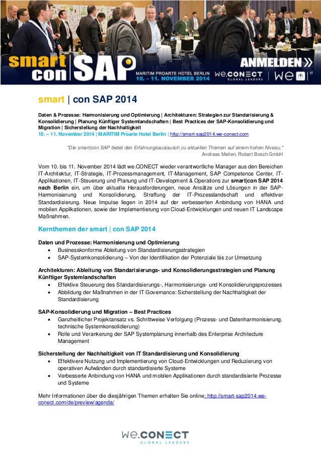 smart   con SAP 2014 Daten & Prozesse: Harmonisierung und Optimierung   Architekturen: Strategien zur Standarisierung & Ko...
