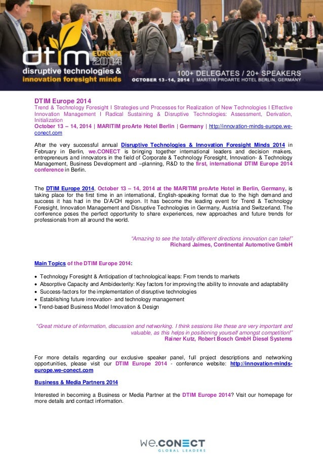 DTIM Europe 2014 Trend & Technology Foresight I Strategies und Processes for Realization of New Technologies I Effective I...