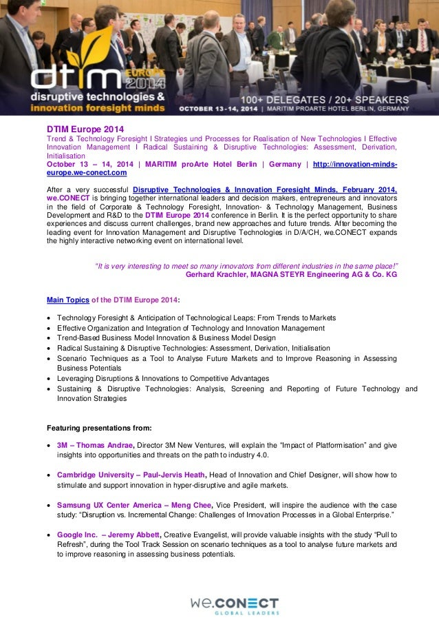 DTIM Europe 2014 Trend & Technology Foresight I Strategies und Processes for Realisation of New Technologies I Effective I...