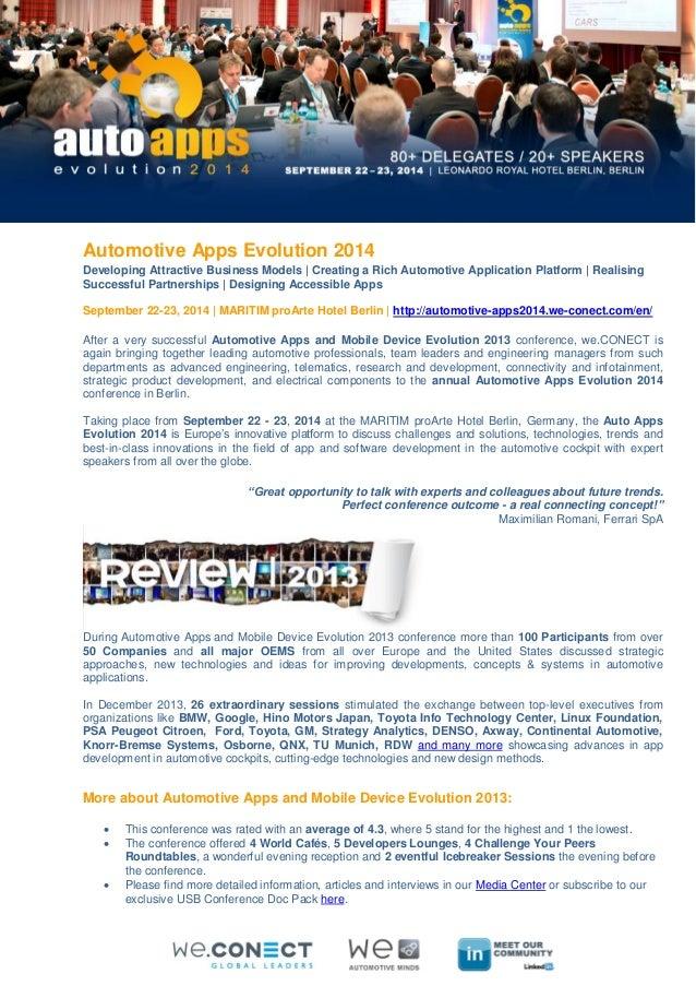 Automotive Apps Evolution 2014 Developing Attractive Business Models | Creating a Rich Automotive Application Platform | R...