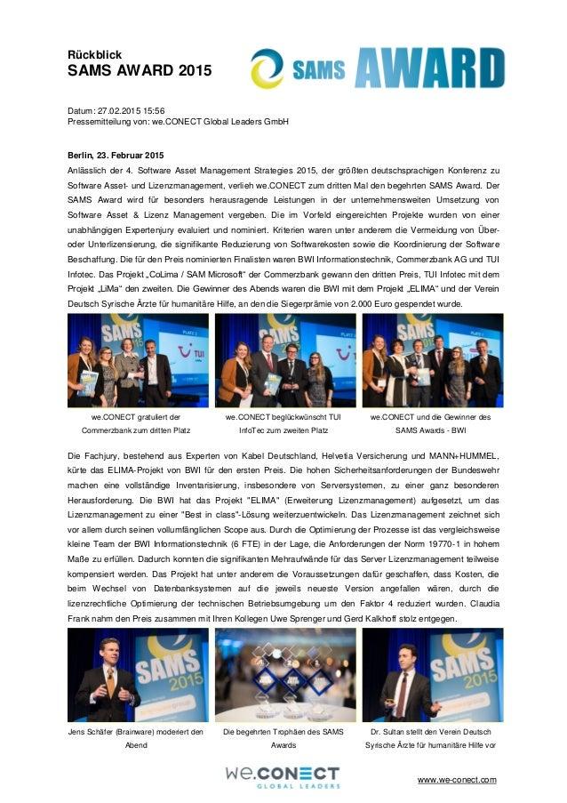 www.we-conect.com Rückblick SAMS AWARD 2015 Datum: 27.02.2015 15:56 Pressemitteilung von: we.CONECT Global Leaders GmbH Be...
