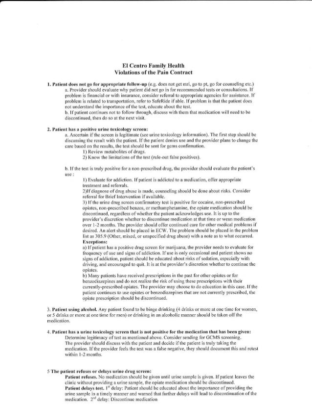 Opioid pain management dependency for Narcotic contract template