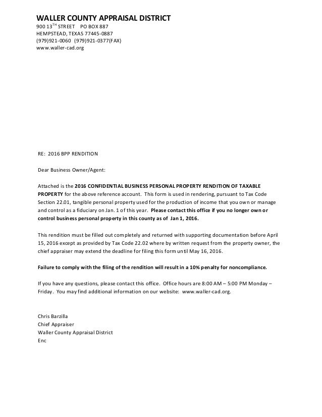 RE: 2016 BPP RENDITION Dear Business Owner/Agent: Attached Is The 2016 ...