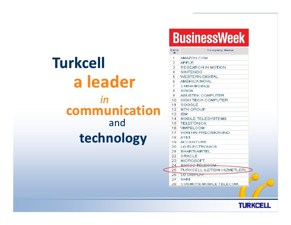 Turkcell    a leader        in   communication            and     technology