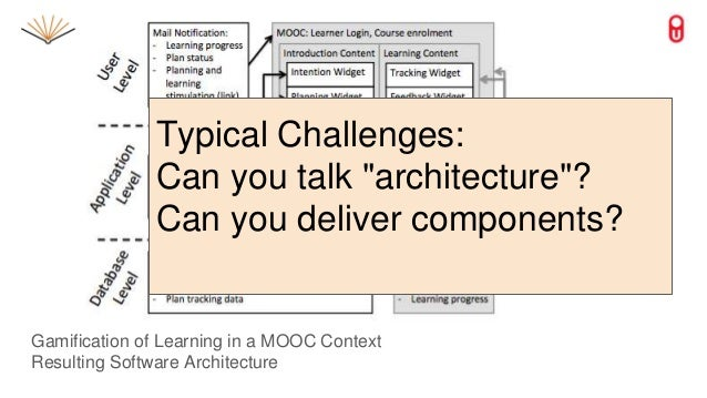 """Gamification of Learning in a MOOC Context Resulting Software Architecture Typical Challenges: Can you talk """"architecture""""..."""