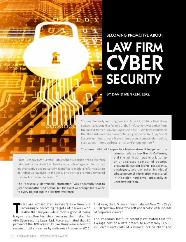 Cyber Security For Law Firms February 2015 Westchester