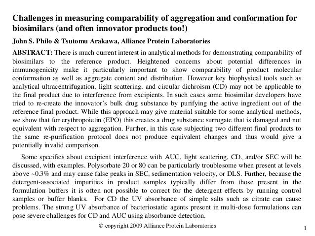 1 Challenges in measuring comparability of aggregation and conformation for biosimilars (and often innovator products too!...