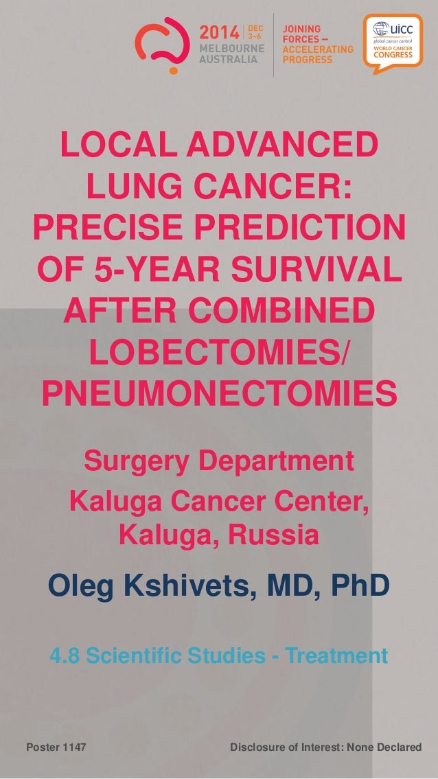 Disclosure of Interest: None DeclaredPoster 1147 LOCAL ADVANCED LUNG CANCER: PRECISE PREDICTION OF 5-YEAR SURVIVAL AFTER C...