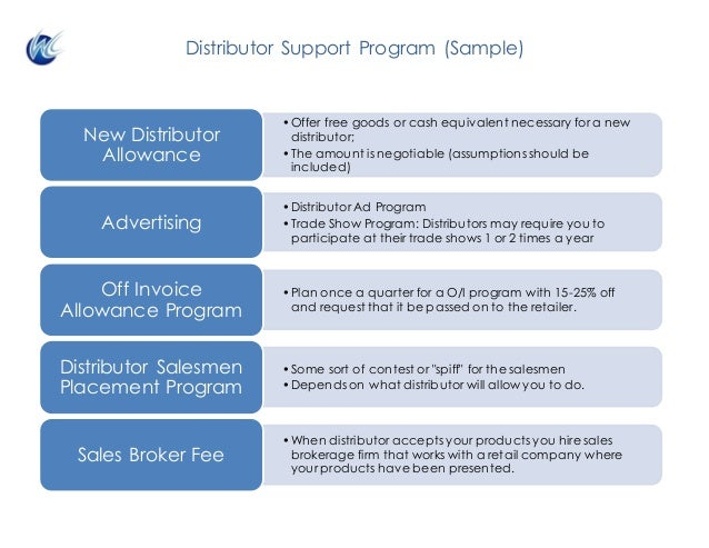Distributor Support Program (Sample) •Offer free goods or cash equivalent necessary for a new distributor; •The amount is ...