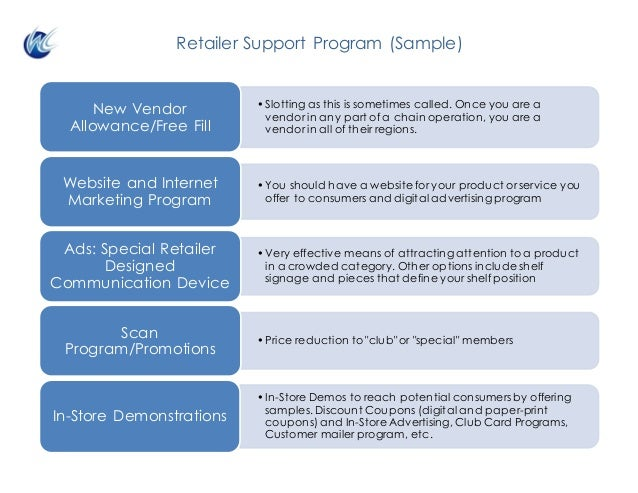 Retailer Support Program (Sample) •Slotting as this is sometimes called. Once you are a vendor in any part of a chain oper...