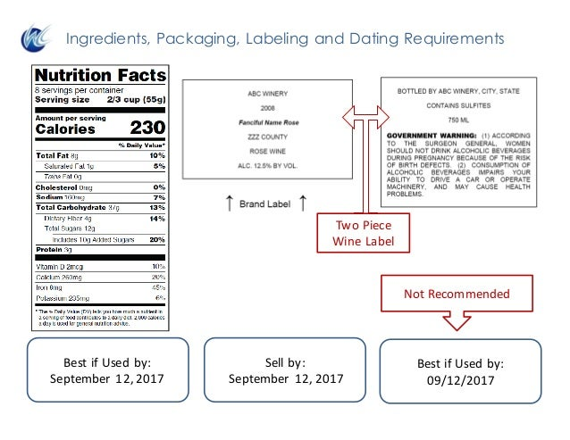 Ingredients, Packaging, Labeling and Dating Requirements BestifUsedby: September12,2017 Sellby: September12,2017 ...