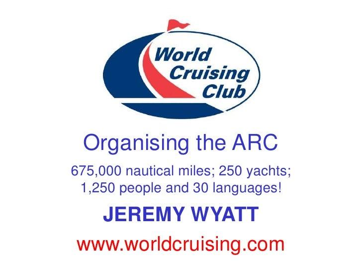 Organising the ARC675,000 nautical miles; 250 yachts; 1,250 people and 30 languages!  JEREMY WYATTwww.worldcruising.com