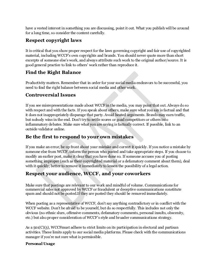 MCCFDraft Social Media Policy Slide 2