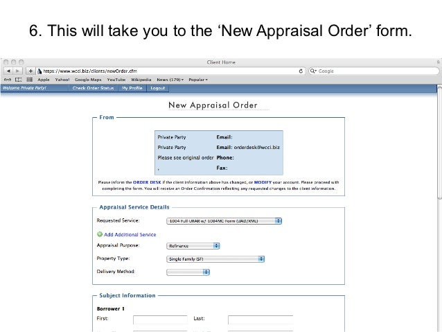 Wcci Website Appraisal Ordering Guide