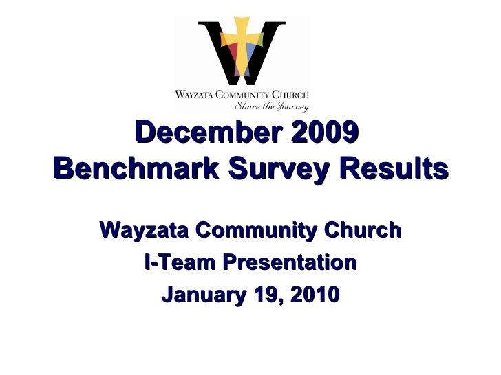 December 2009  Benchmark Survey Results Wayzata Community Church I-Team Presentation January 19, 2010