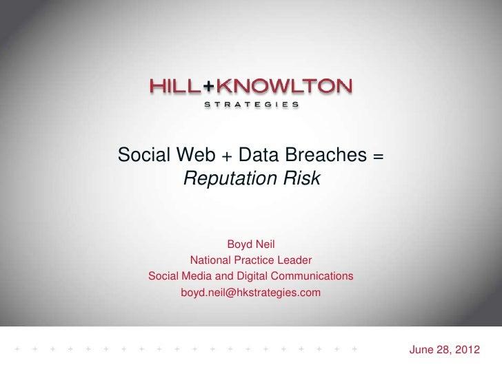 Social Web + Data Breaches =       Reputation Risk                   Boyd Neil           National Practice Leader   Social...