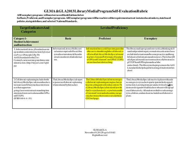 GLMA&GLA2013LibraryMediaProgramSelf-EvaluationRubric AllExemplaryprograms willmeetorexceedthedefinitionsbelow forBasic,Pro...