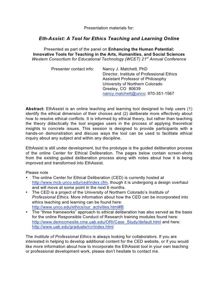 Presentation materials for:         Eth-Assist: A Tool for Ethics Teaching and Learnin...