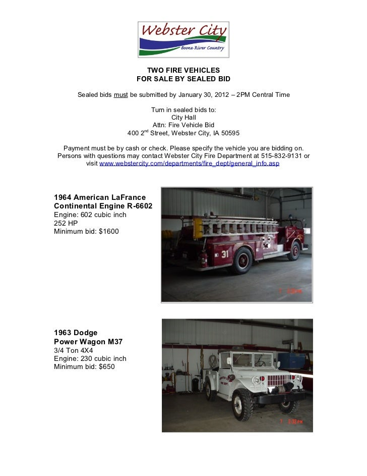 Fire Trucks for Sale By Sealed Bid