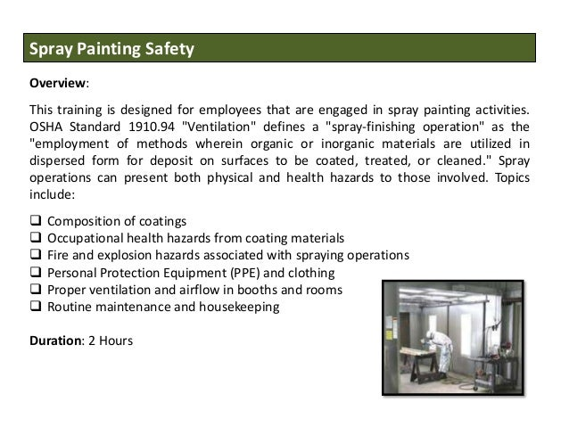 Occupational health and safety training courses for Spray paint safety