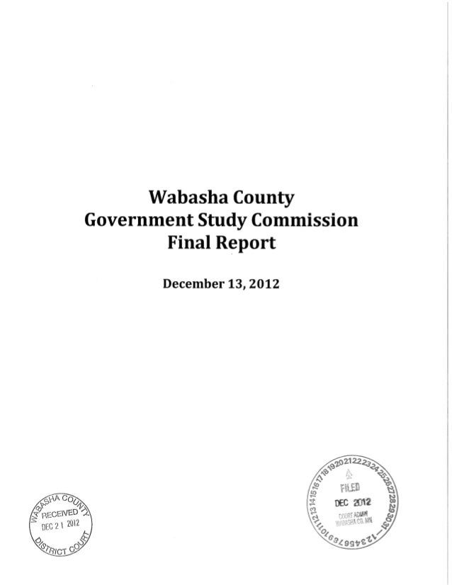 Wabasha County Government Study Commission final report