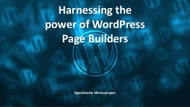 Harnessing the power of WordPress Page Builders Ngonidzashe Mhuruyengwe