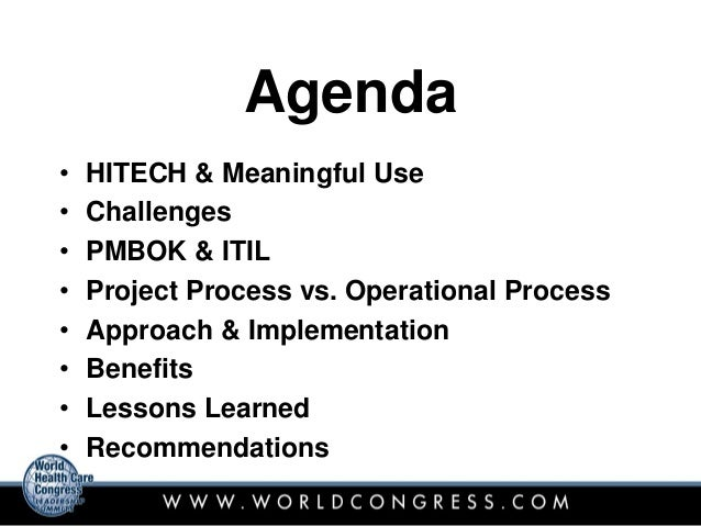 HITECH-Meaningful Use and the Benefits of the PMI and ITIL ...