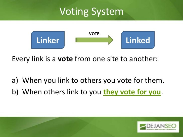 Voting System<br />VOTE<br />Linker<br />Linked<br />Every link is a vote from one site to another:<br />When you link to ...
