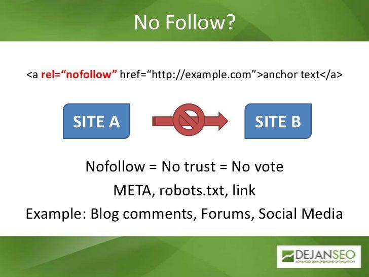 "No Follow?<br /><a rel=""nofollow"" href=""http://example.com"">anchor text</a><br />Nofollow = No trust = No vote<br />META, ..."