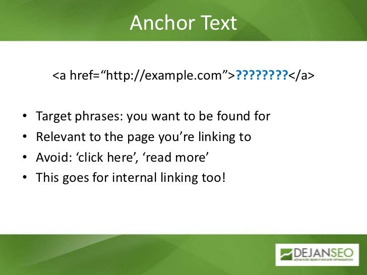 """Anchor Text<br /><a href=""""http://example.com"""">????????</a><br />Target phrases: you want to be found for<br />Relevant to ..."""