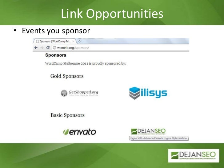 Link Opportunities<br />Events you sponsor<br />