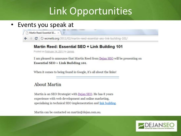 Link Opportunities<br />Events you speak at<br />