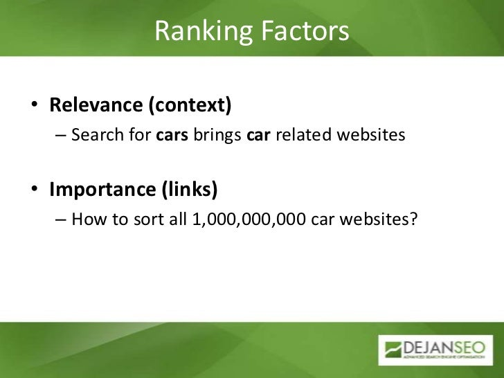 Ranking Factors<br />Relevance (context)<br />Search for cars brings car related websites<br />Importance (links)<br />How...