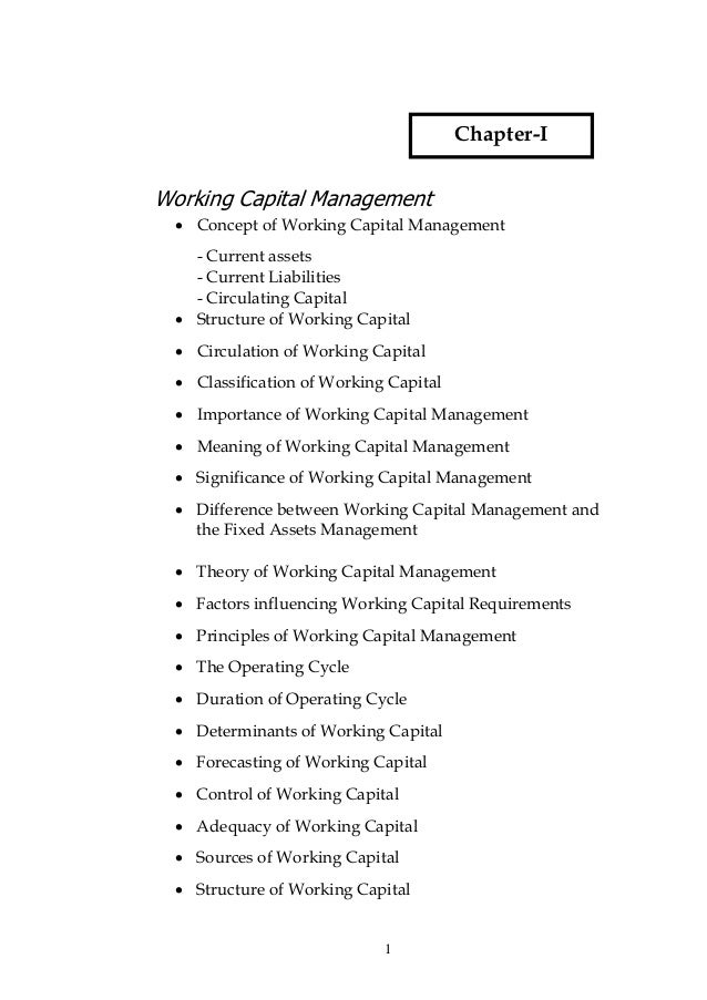Chapter-IWorking Capital Management  • Concept of Working Capital Management    - Current assets    - Current Liabilities ...