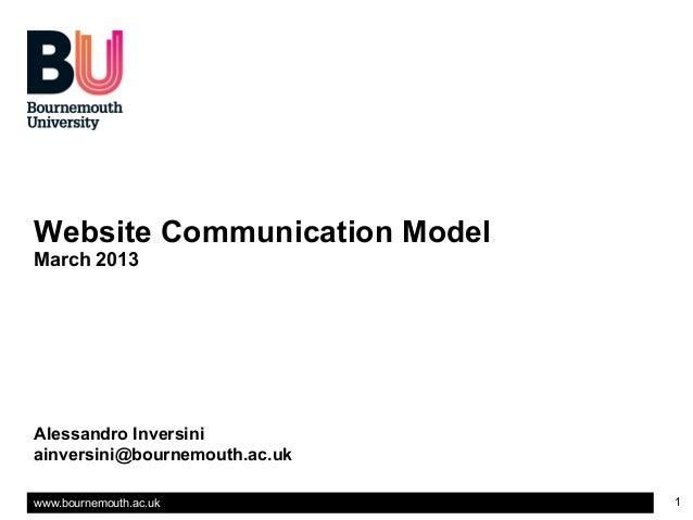 Website Communication ModelMarch 2013Alessandro Inversiniainversini@bournemouth.ac.ukwww.bournemouth.ac.uk          1