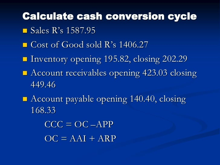 Calculate the operating cycle cash conversion cycle of pepsi