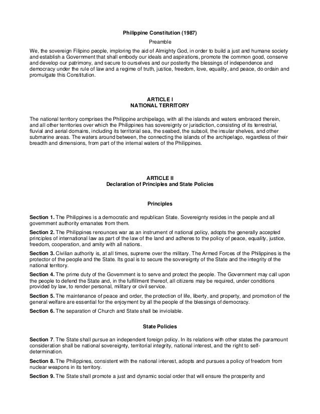 Philippine Constitution (1987) Preamble We, the sovereign Filipino people, imploring the aid of Almighty God, in order to ...
