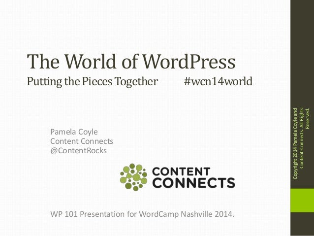 The World of WordPress Pamela Coyle Content Connects @ContentRocks PuttingthePiecesTogether #wcn14world WP 101 Presentatio...