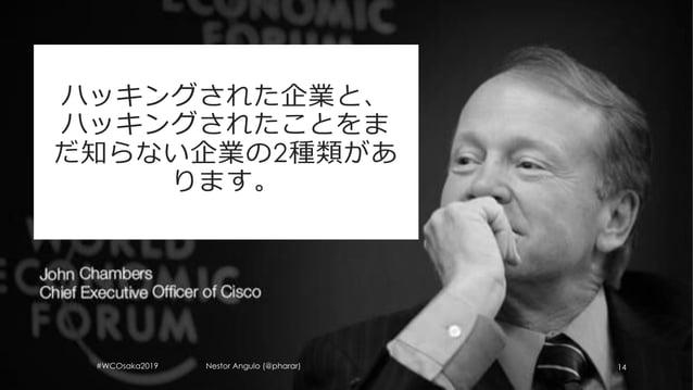 #WCOsaka2019 Nestor Angulo (@pharar) 14 ハッキングされた企業と、 ハッキングされたことをま だ知らない企業の2種類があ ります。