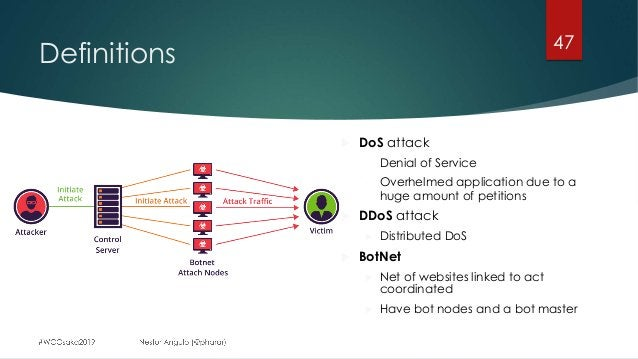 Definitions 47 u DoS attack - Denial of Service - Overhelmed application due to a huge amount of petitions u DDoS attack u...