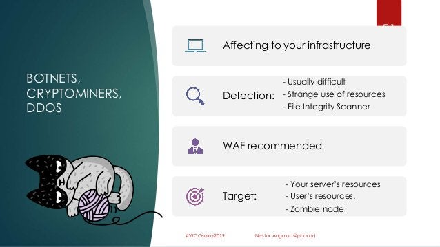 BOTNETS, CRYPTOMINERS, DDOS 51 #WCOsaka2019 Nestor Angulo (@pharar) Affecting to your infrastructure Detection: - Usually ...