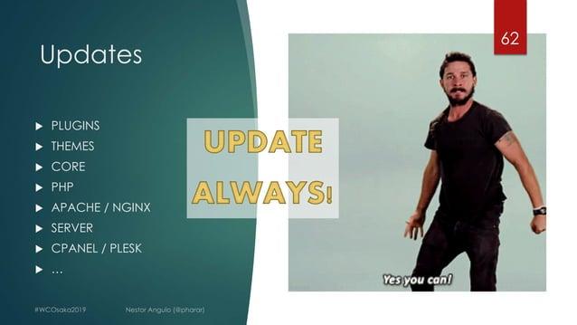 Updates 62 u PLUGINS u THEMES u CORE u PHP u APACHE / NGINX u SERVER u CPANEL / PLESK u …
