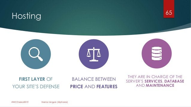 Hosting 65 #WCOsaka2019 Nestor Angulo (@pharar) FIRST LAYER OF YOUR SITE'S DEFENSE BALANCE BETWEEN PRICE AND FEATURES THEY...