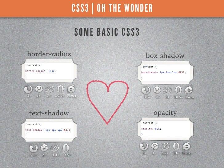 CSS3 | OH THE WONDER                                  S OME BAS I C C SS 3border-radius                                   ...