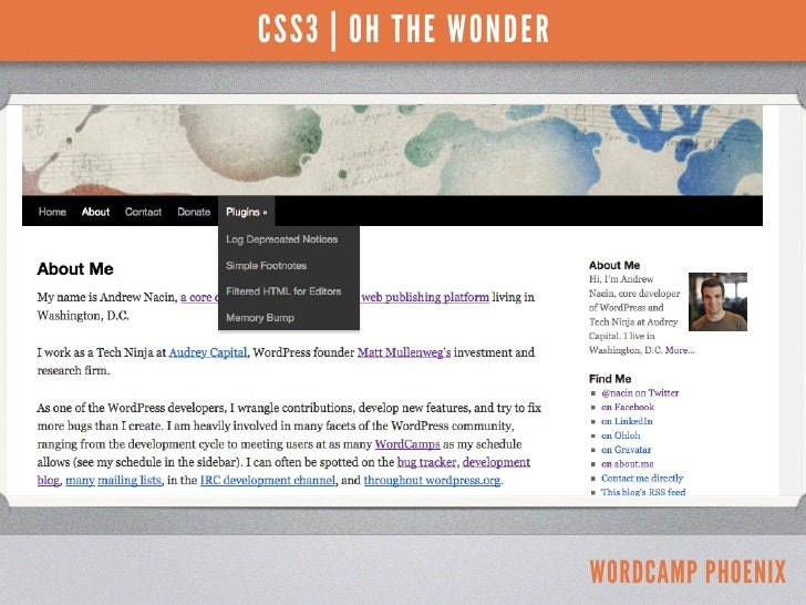 CSS3 | OH THE WONDERTwenty Ten - menu drop-down shadow                              WORDCAMP PHOENIX