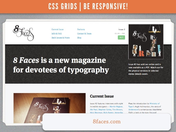 CSS GRIDS | BE RESPONSIVE!              8faces.com