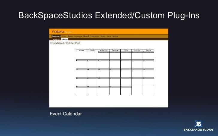 BackSpaceStudios Extended/Custom Plug-Ins Event Calendar