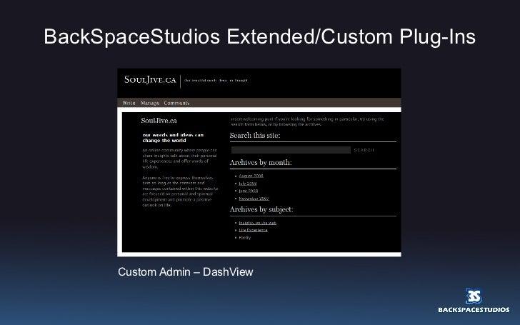 BackSpaceStudios Extended/Custom Plug-Ins Custom Admin – DashView
